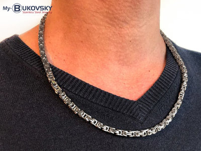 Bukovsky Stainless Steel Jewelry Bukovsky Stalen Heren Ketting SH7410 - Konings - Small - Brushed -  Lengte: 55 cm - Breedte: 0,4 cm - Dikte: 0,4 cm