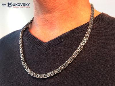 Bukovsky Stainless Steel Jewelry Bukovsky Stalen Heren Ketting SH7470 - Platte Konings - Medium - Geborsteld - Breedte: 0,7 cm - Dikte: 0,3 cm - 4 Lengtematen vanaf € 39,50