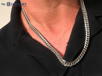 Bukovsky Stainless Steel Jewelry Bukovsky Stalen Heren Ketting SH9505 - Brushed - Gourmette schakel - Lengte 55 cm - Breedte: 0,8 cm - Dikte: 0,3 cm