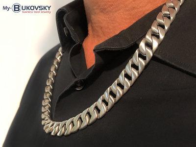 Bukovsky Stainless Steel Jewelry Bukovsky Stalen Heren Ketting SH9410 - Brushed - 60 cm - Gourmette - Breedte: 1,3 cm - Dikte: 0,5 cm