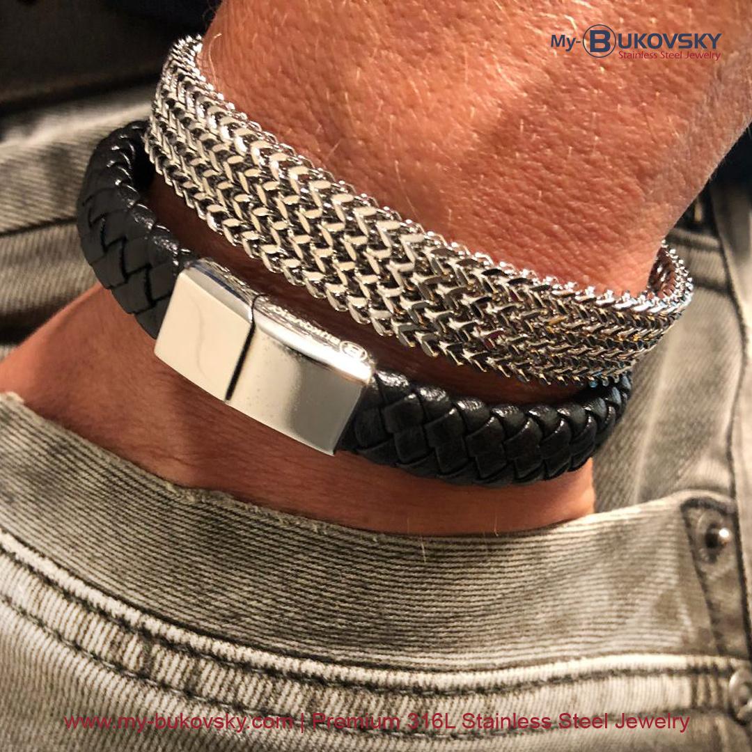 Leder/Staal Heren Armband Bukovsky SL6750 - Zwart. Samen met de gepolijste stalen armband