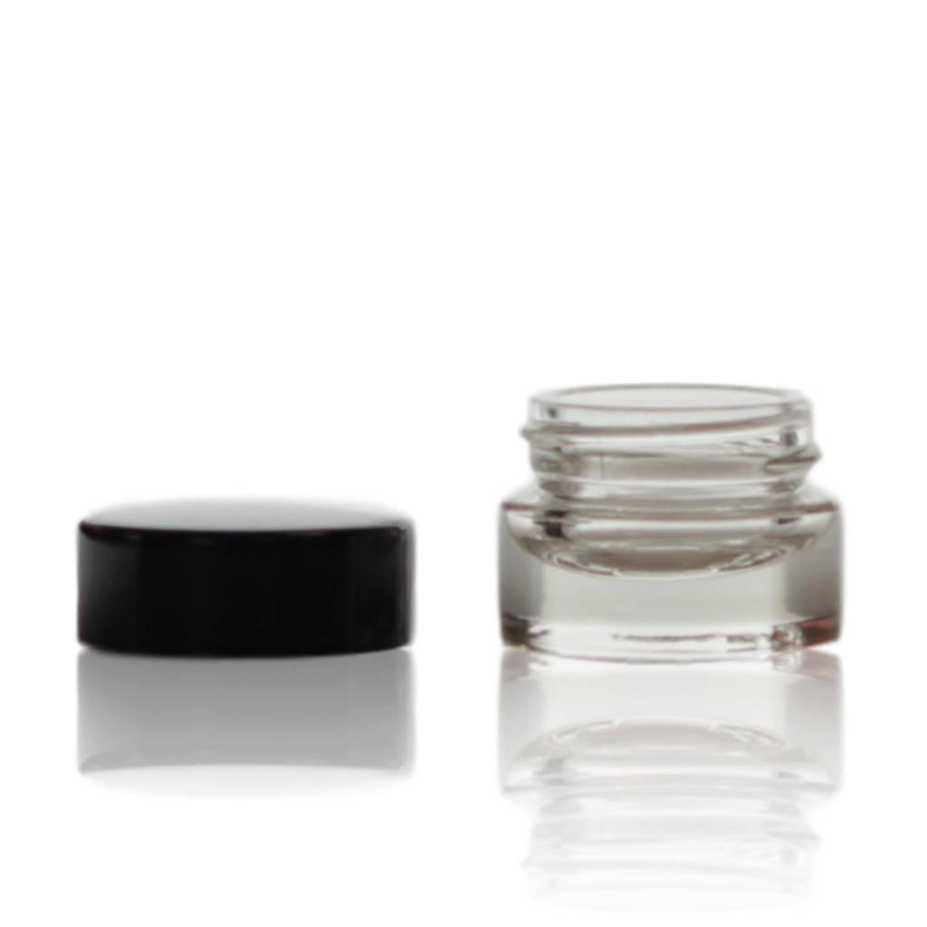 Crèmepotje glas met zwarte deksel 7 mL