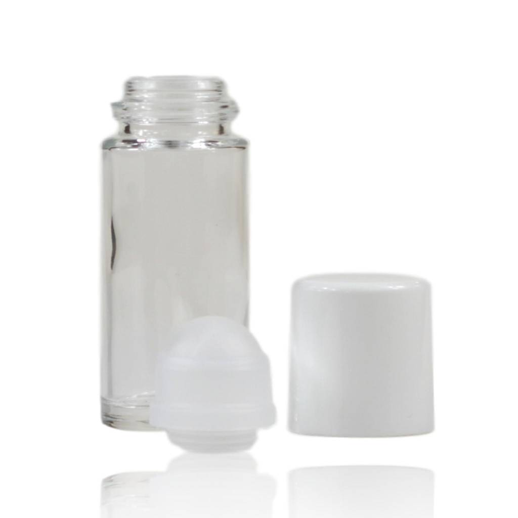Roll on fles glas met witte dop 50 mL