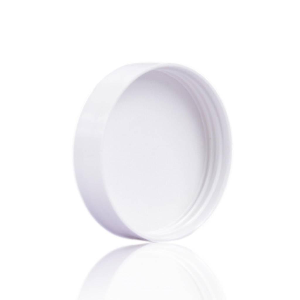 Witte deksel voor blauwglas pot