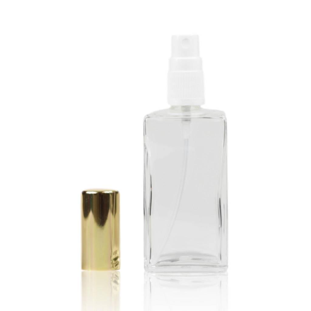 Glazen verstuiver met goudkleurige dop 100 mL