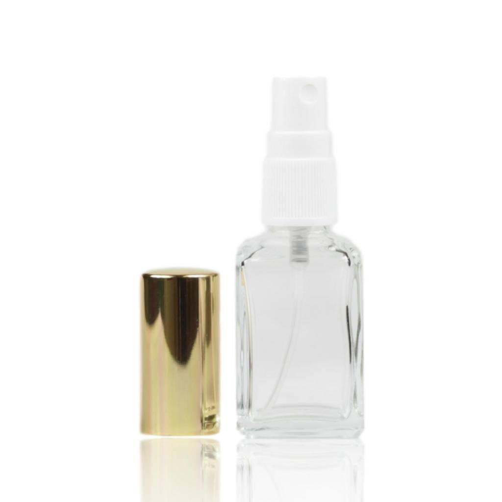 Glazen verstuiver met goudkleurige dop 30 mL