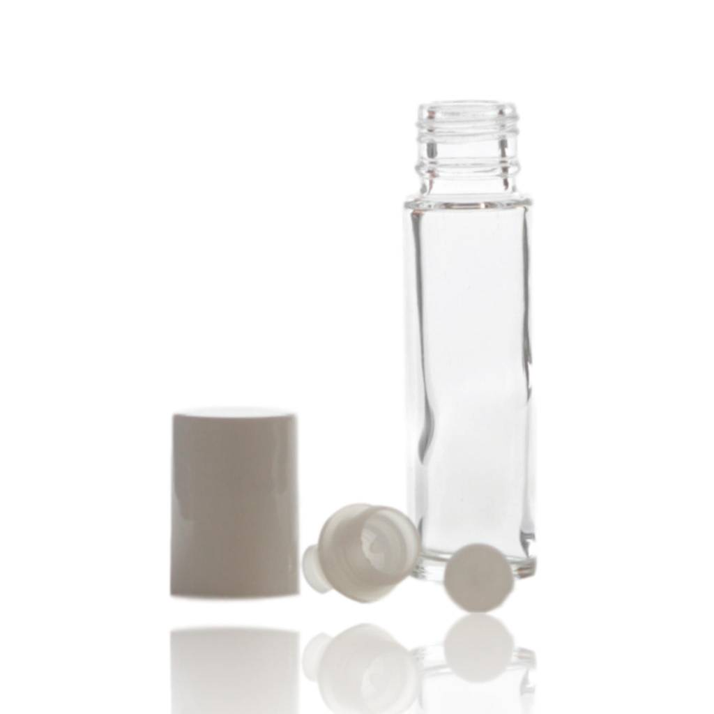 10x Roll on fles glas met witte dop 10 mL