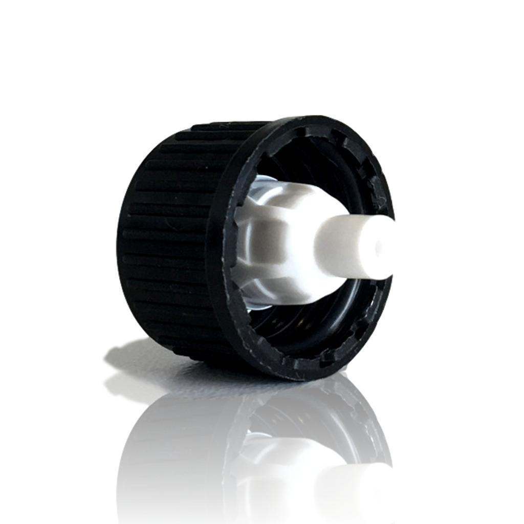 Zwarte schroefdop met witte druppelinlay (halstype B of DIN18)