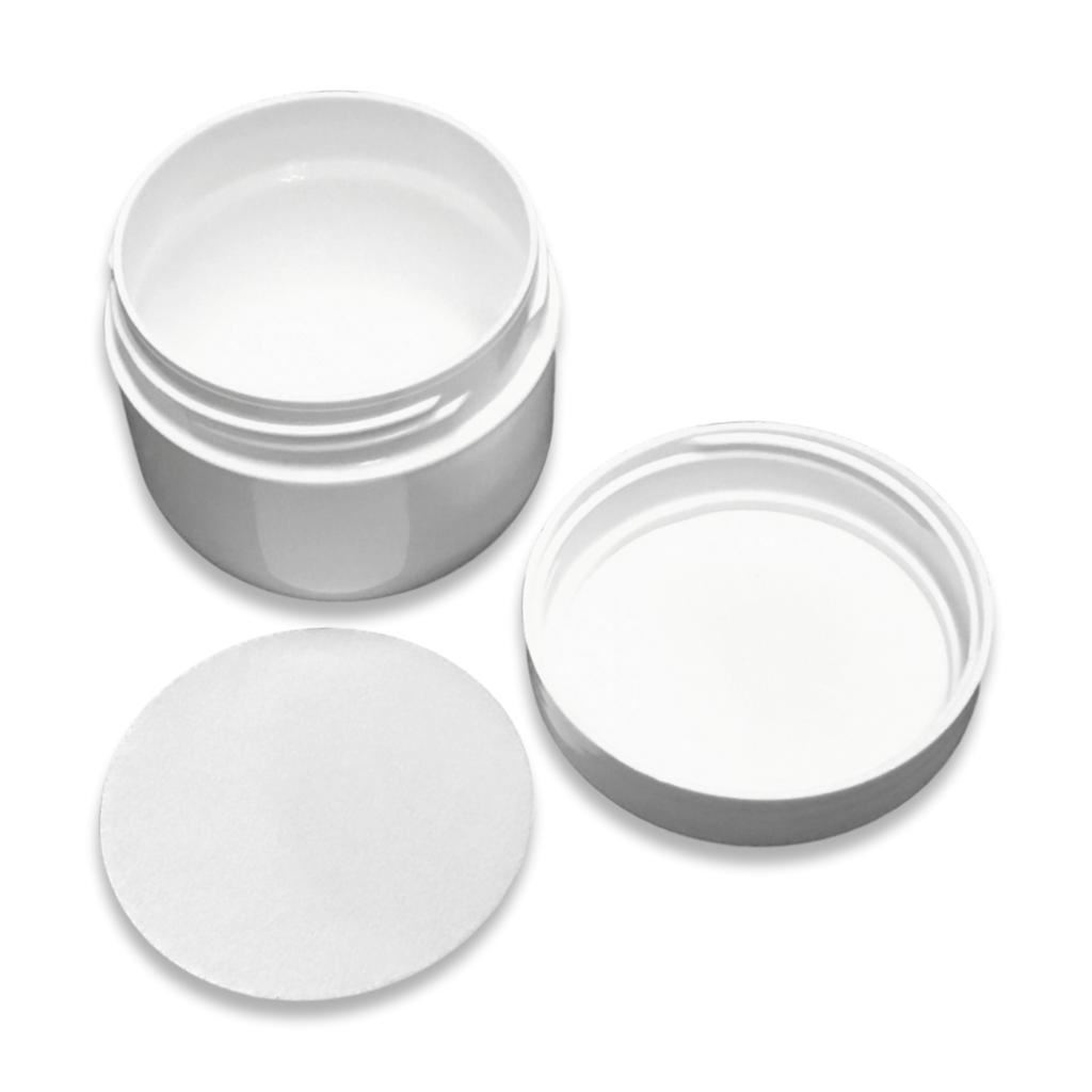 Witte crèmepot met foam inlay 50 mL