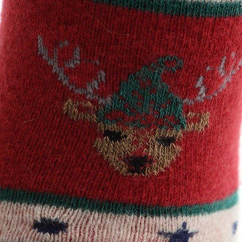 Calzino da uomo con testa di renna natalizia