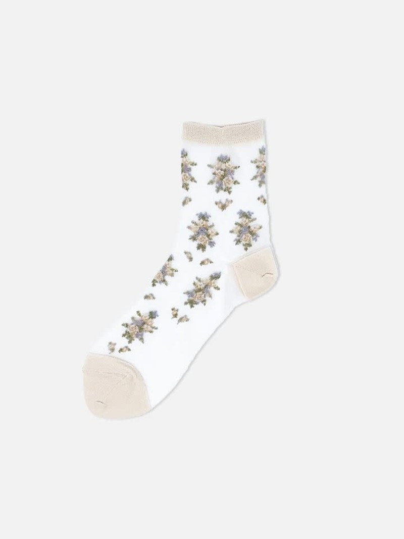 Socquette transparente fleurs vintage