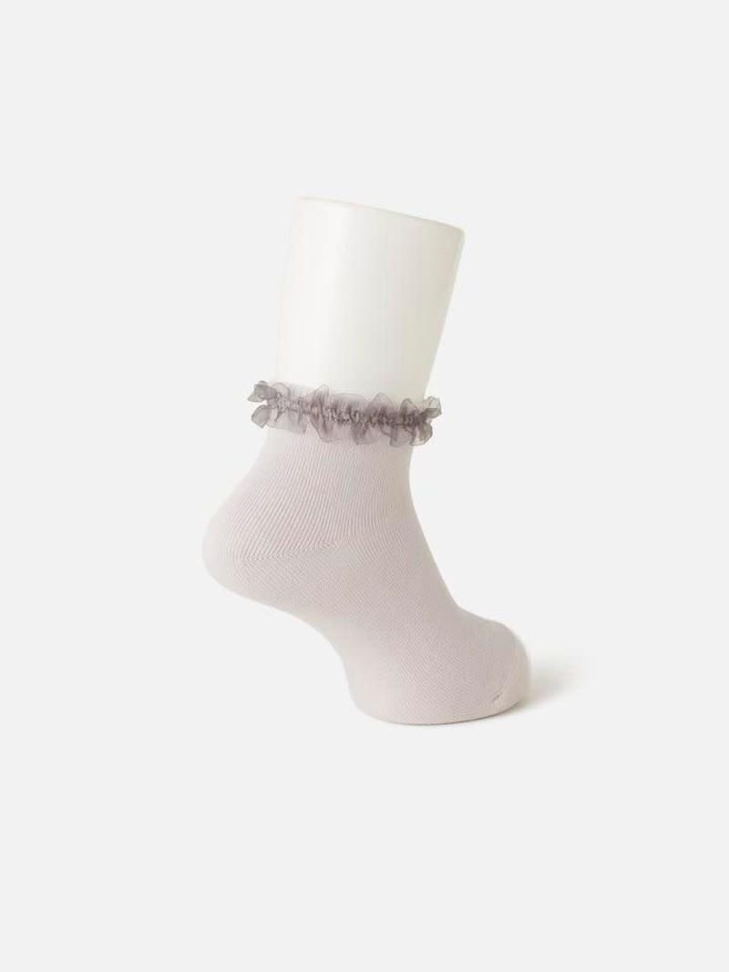 Einfache Socke mit Organza-Bandrand Kinder 16-18