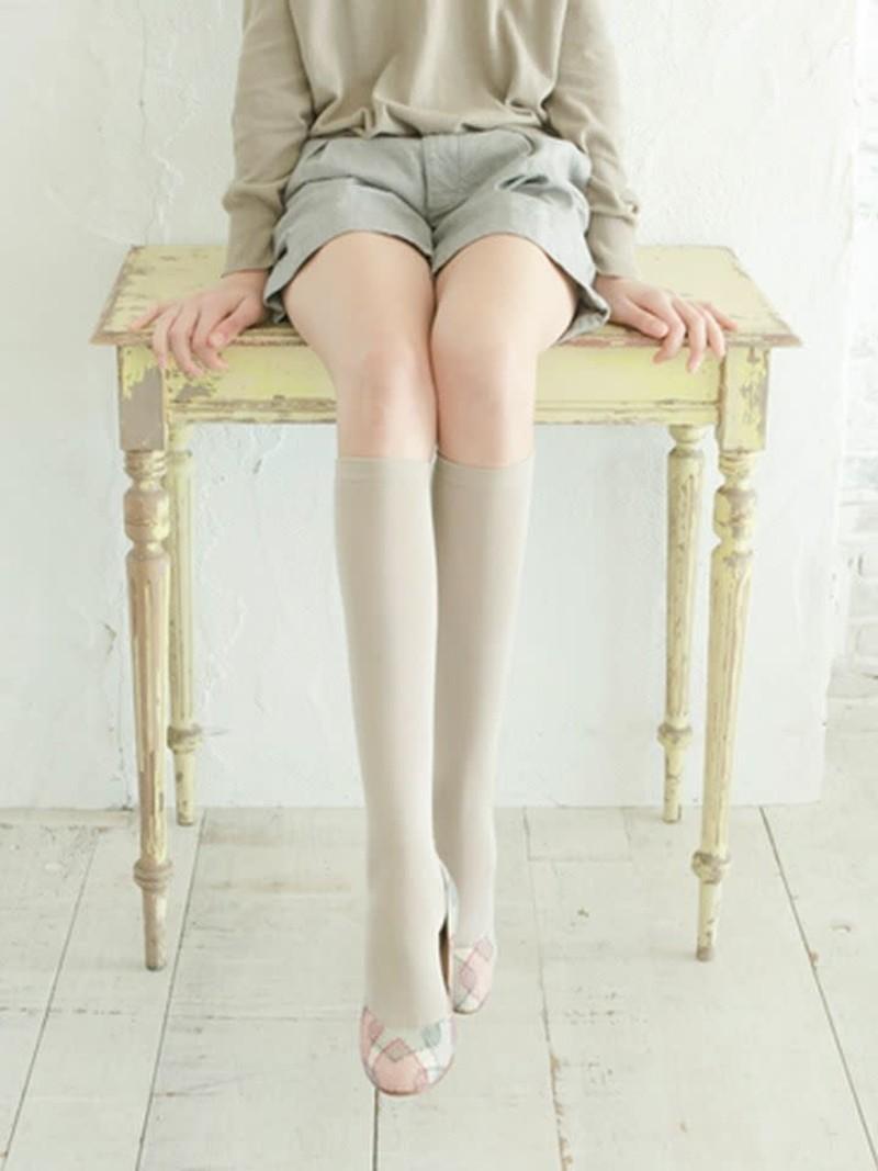Fine plain Knee High Socks 220N L