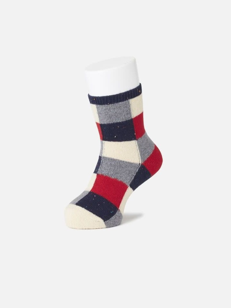 Mid-Socken Patchwork Wolle Kinder 16-18cm