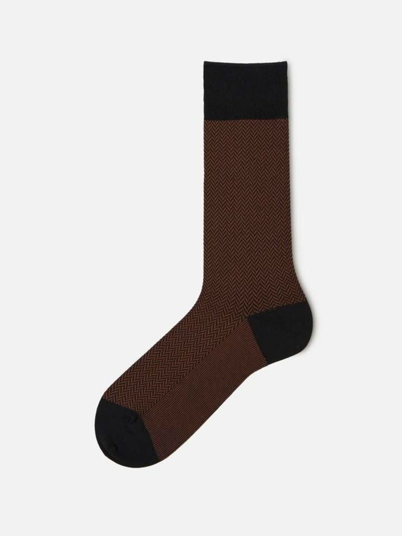 Jacquard herringbone Fine Mid-Calf Socks 220N L