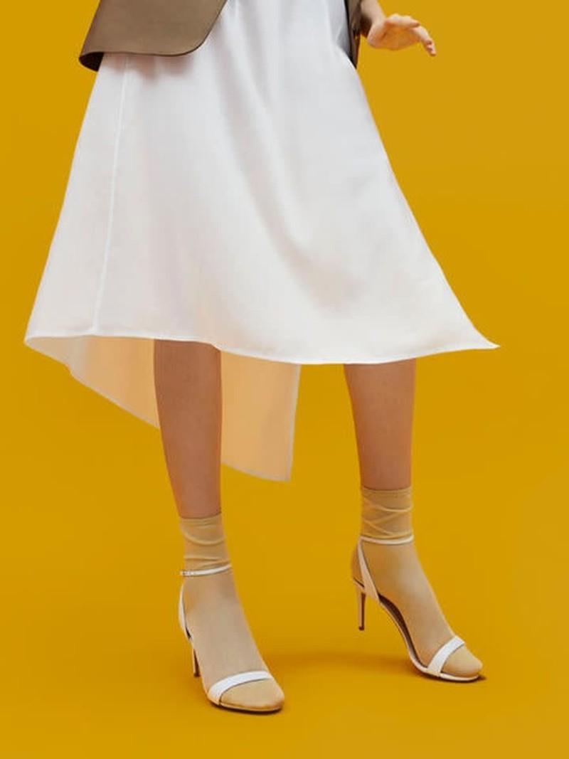 Mi-chaussette transparente unie en Nylon