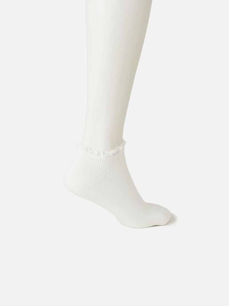 White Frill Rib Trainer Socks