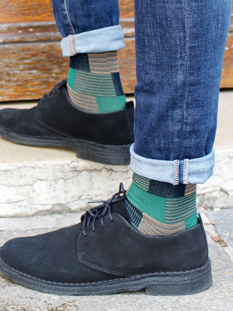 Calcetines hasta la rodilla con diseño geométrico M