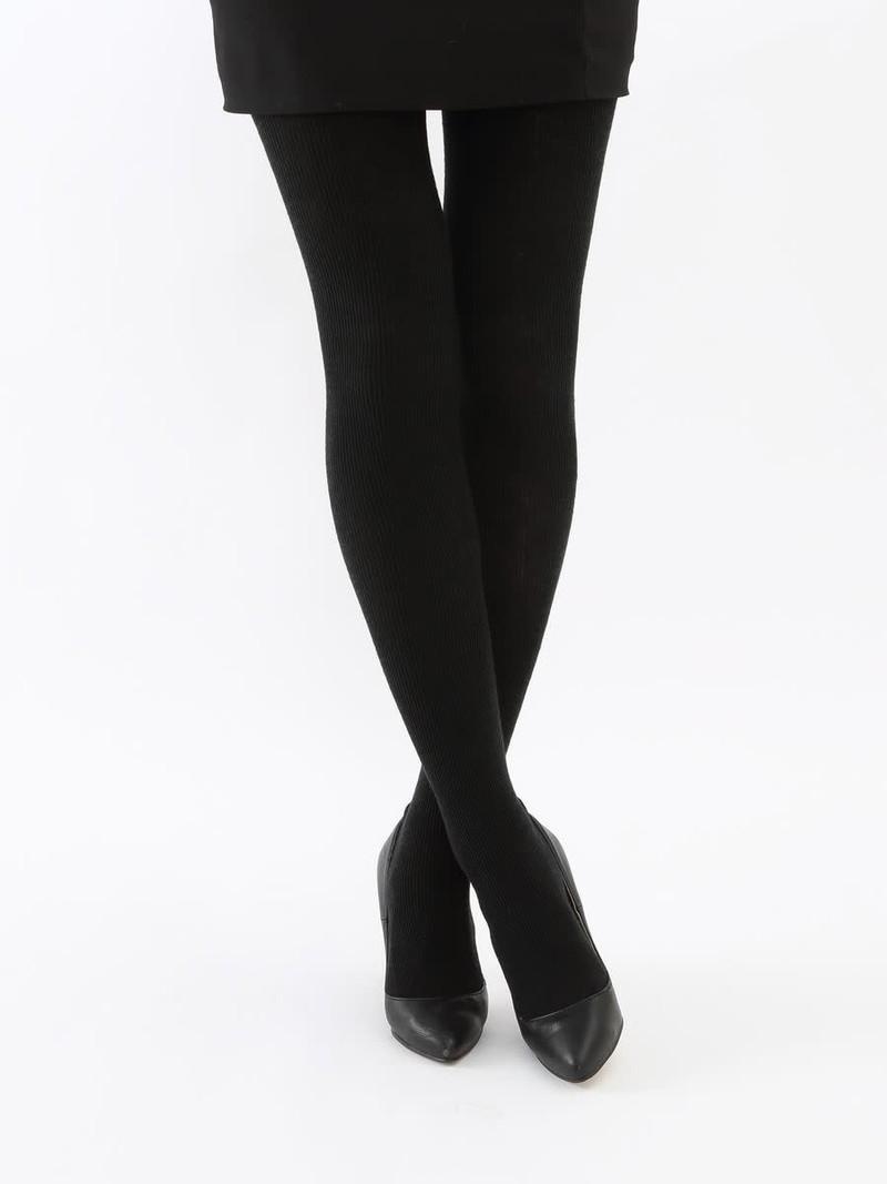 Geribbelde panty van gemengde wol