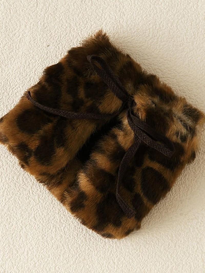 Korte beenwarmer met luipaardprint