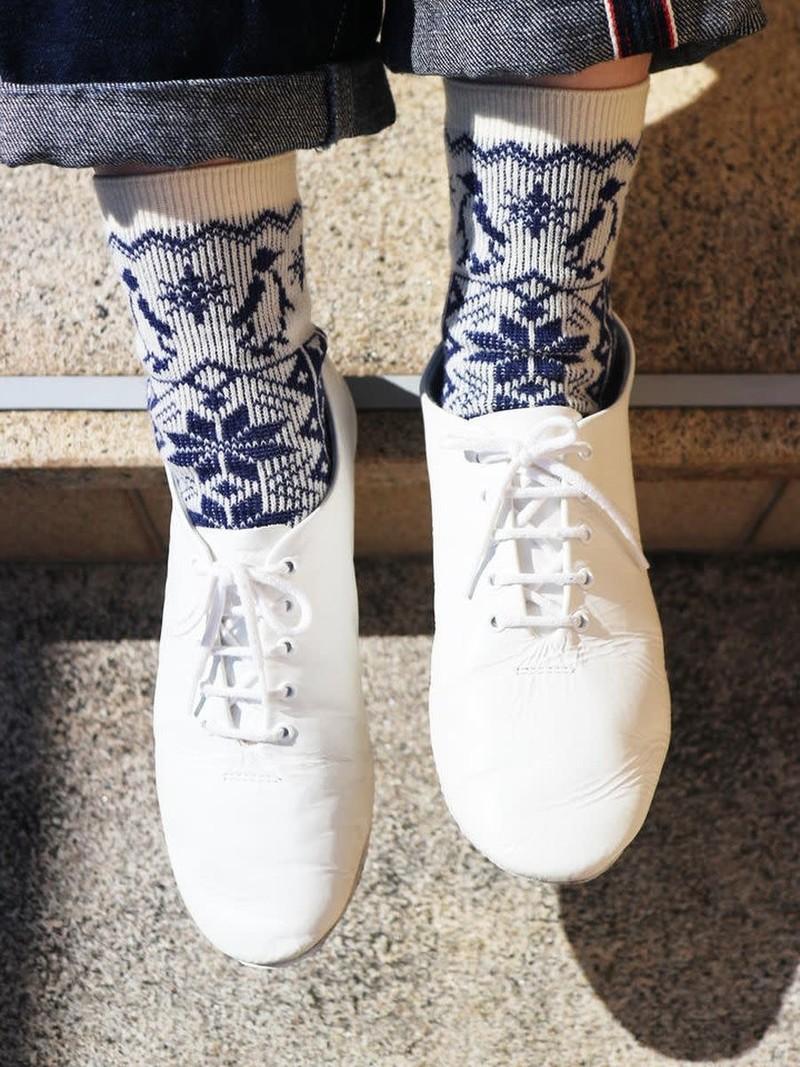 Penguin Snow Jacquard Lambswool Low Crew Socks