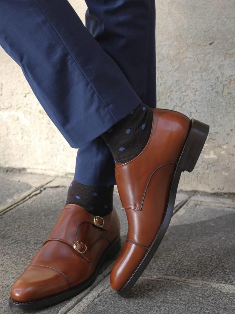Wool Contrast Dots Mid-Calf Socks M