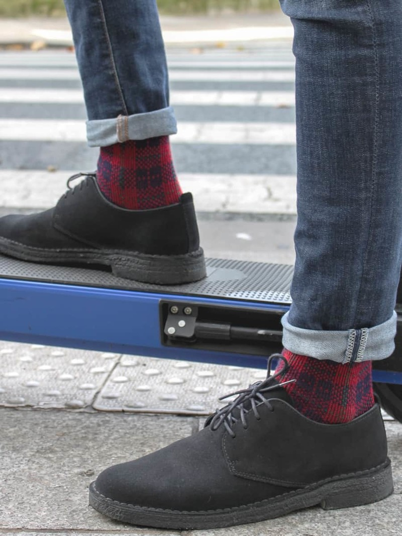 Merino Wool Tartan Check Crew Socks M