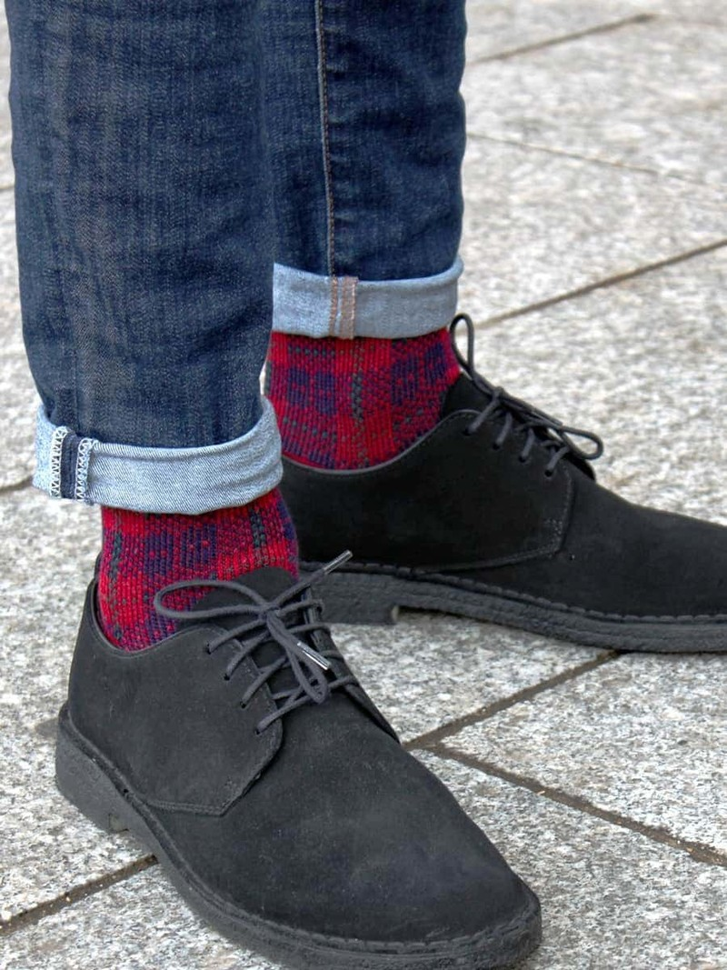 Merinowolle Tartan Check Crew Socken M