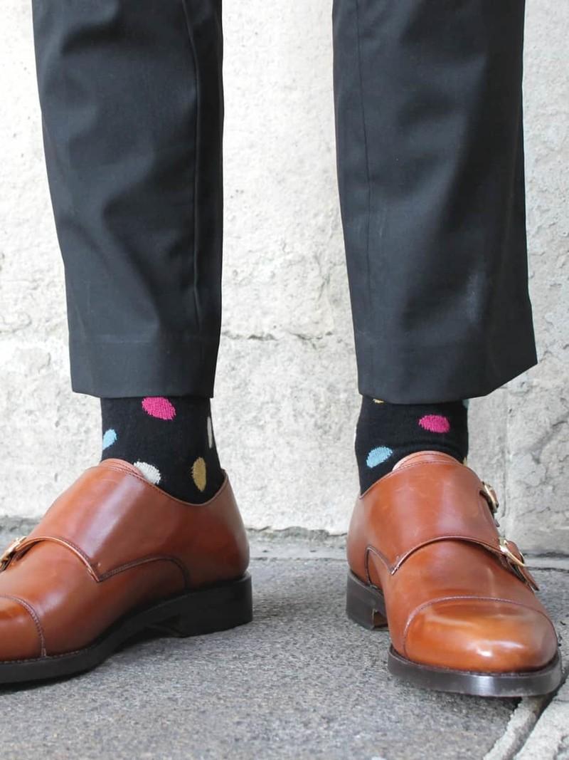 Mehrfarbige Tupfen mit mittlerer Socke aus Merinowolle 156N N