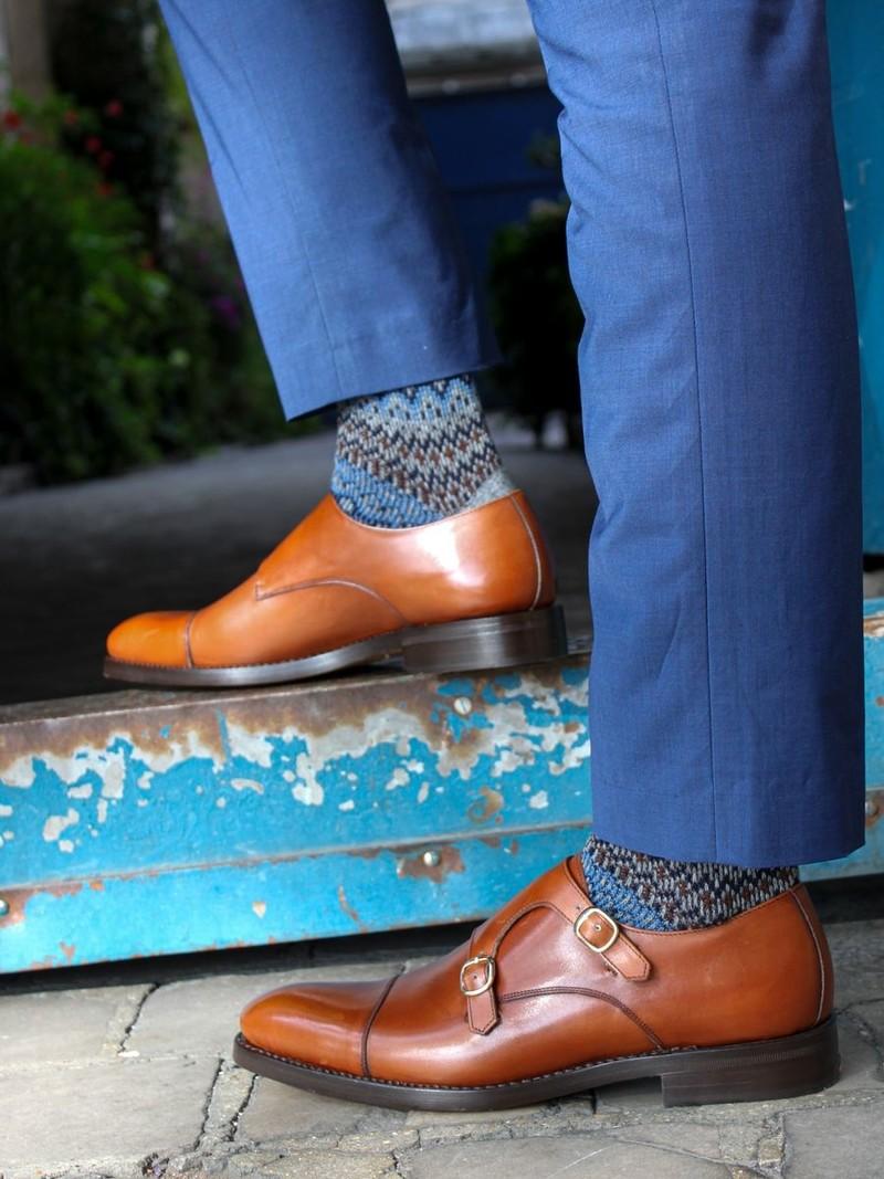 Halflange sokken Fair Isle Merino wol jacquard176 M