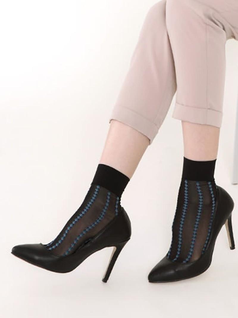 Stripe Motif 20D Pop Socks