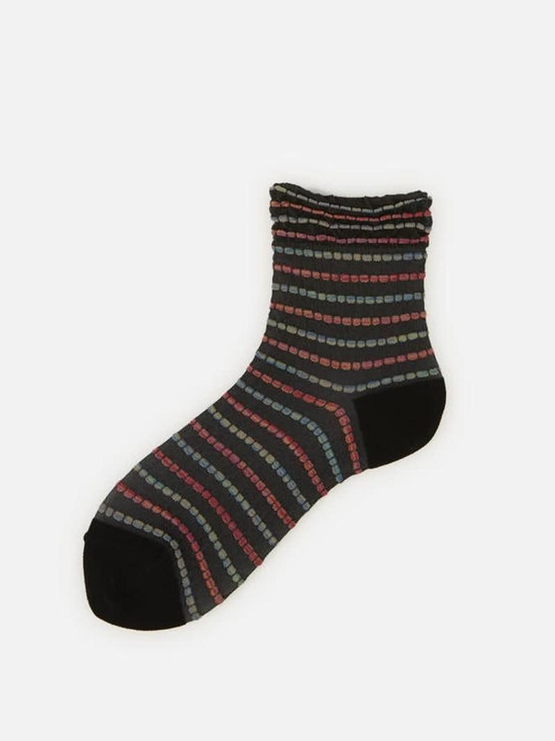 Socquette rayures colorés multi picot