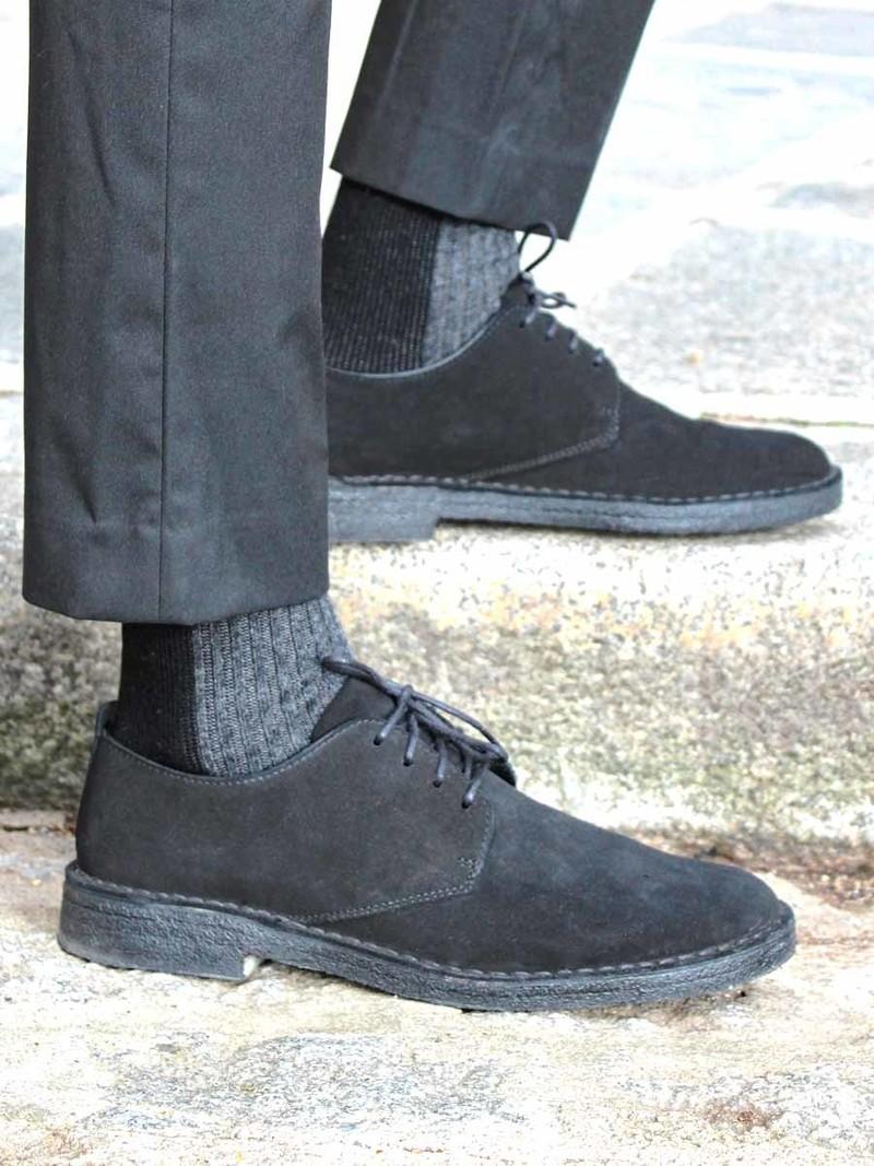 Merino Bicolore Rib Linking Crew Socks