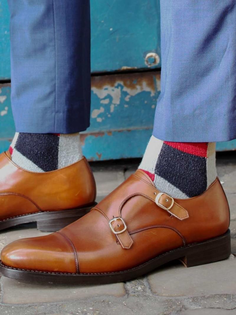 Patchwork Wool Mid-Calf Socks M