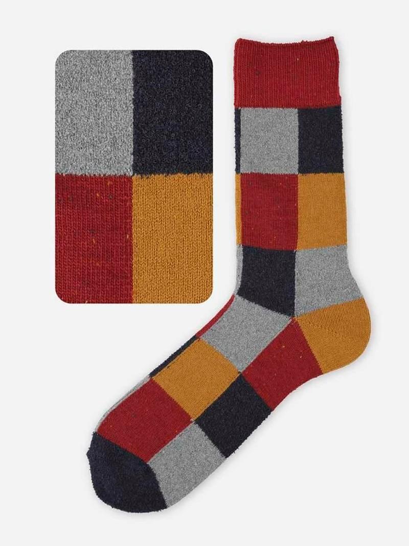 Calcetín medio de lana patchwork M
