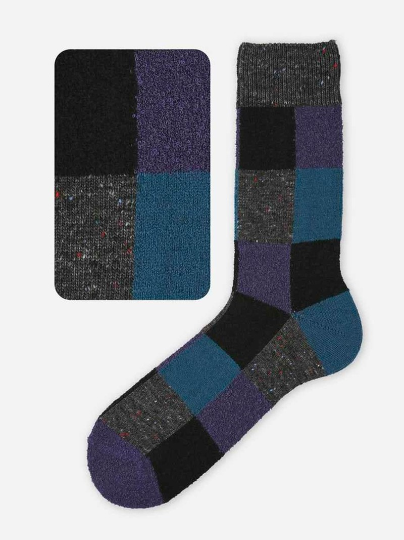 Calzino medio in lana patchwork M