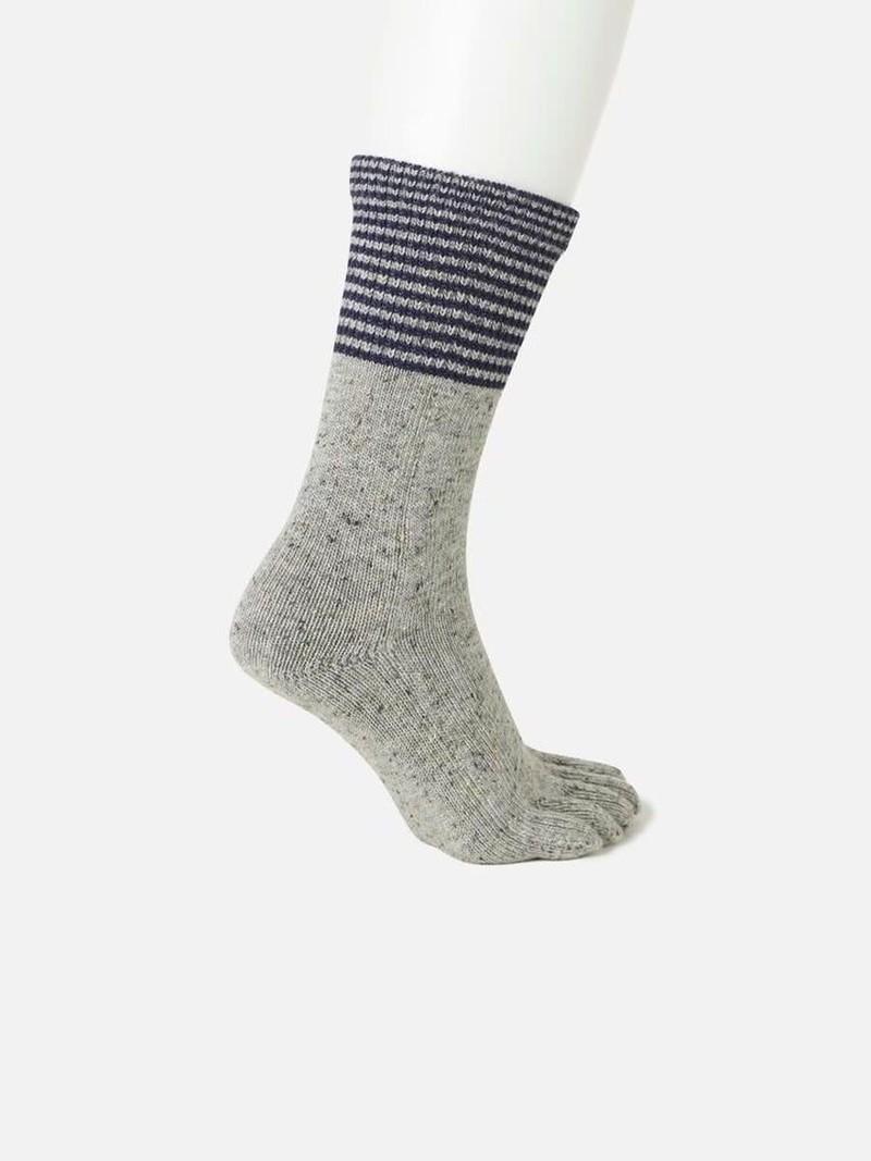 Wool Striped Top Mid-Calf Toe Socks
