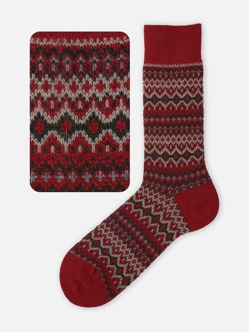Halflange sokken Fair Isle Merino wol jacquard176 L
