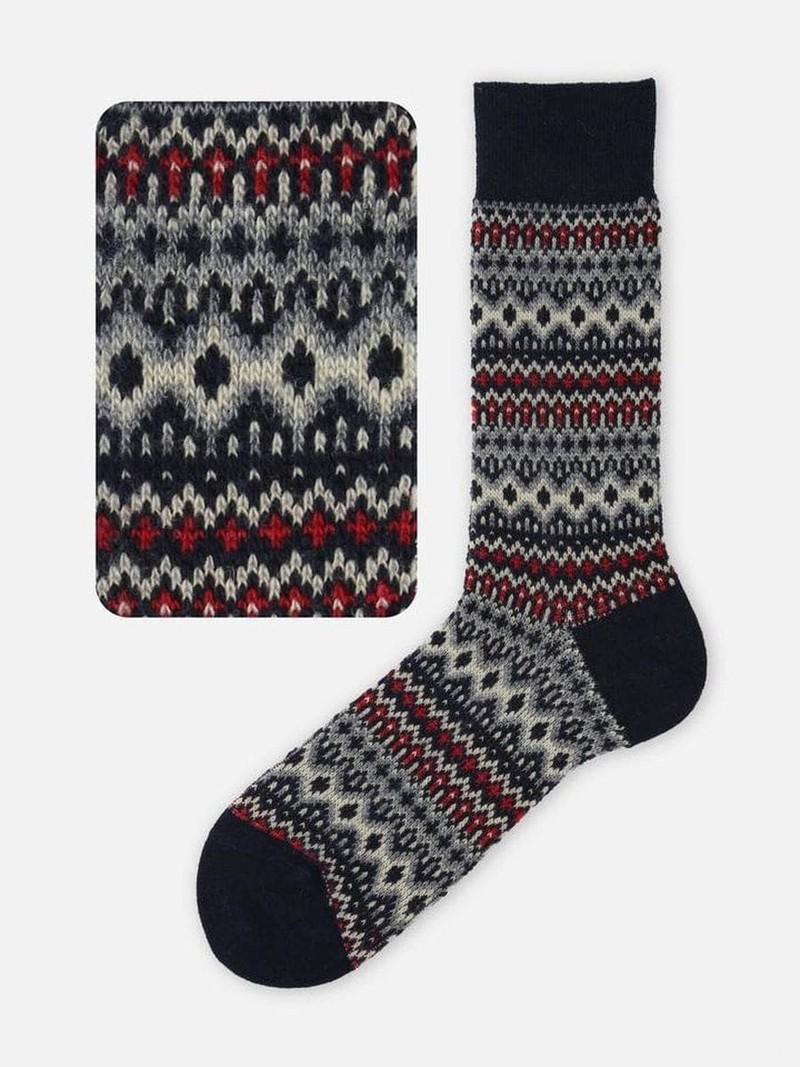 Merino Fair Isle Jacquard 176 Mid-Calf Socks L