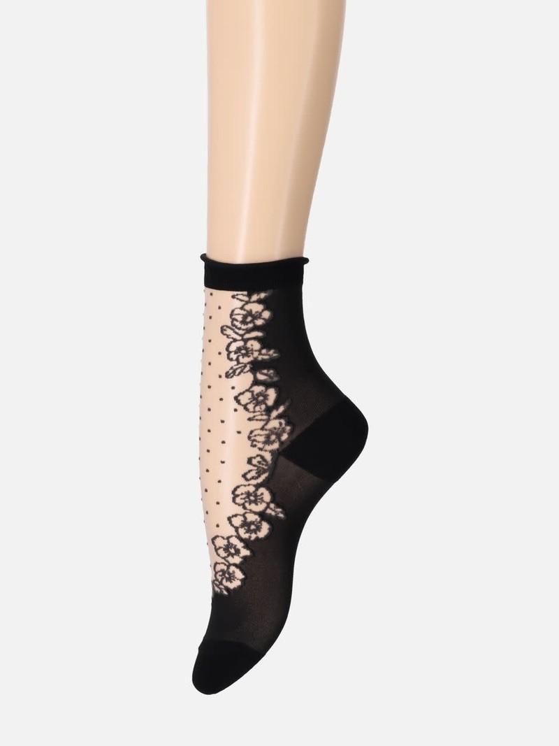 Stiefmütterchen und Tupfen transparente Socke