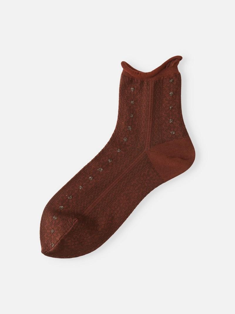 Dark Stripe Flower Mesh Ankle Socks