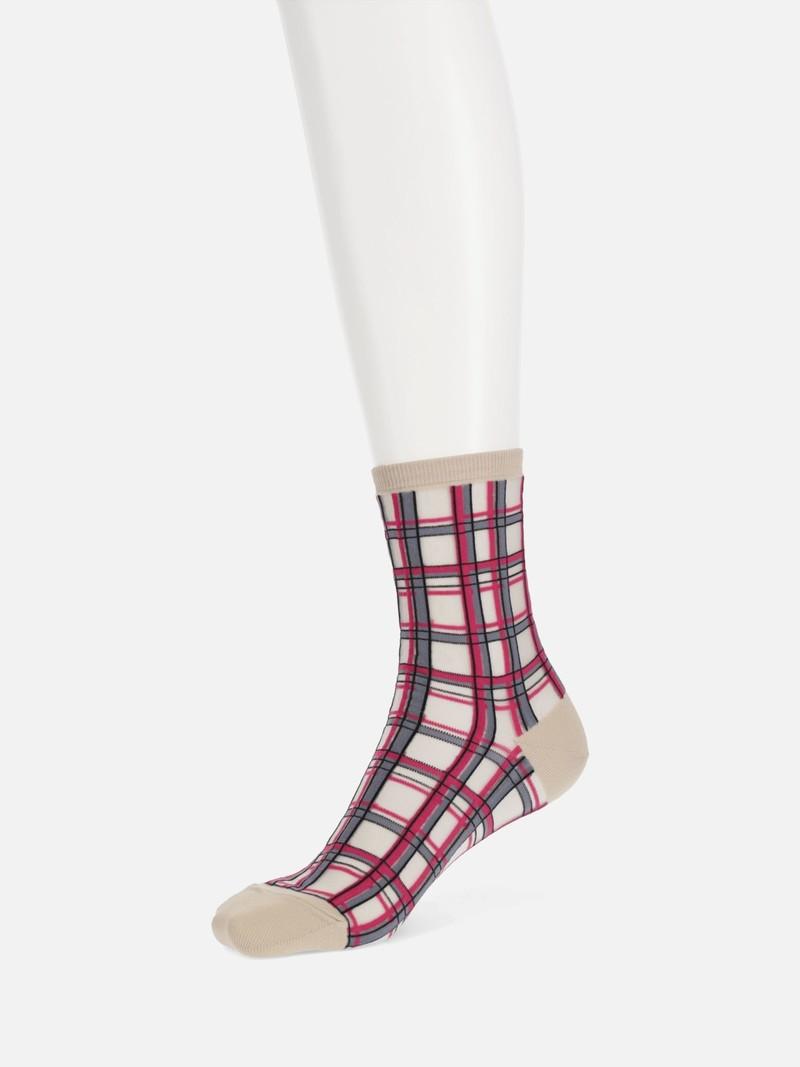 Sheer Check Low Crew Socks