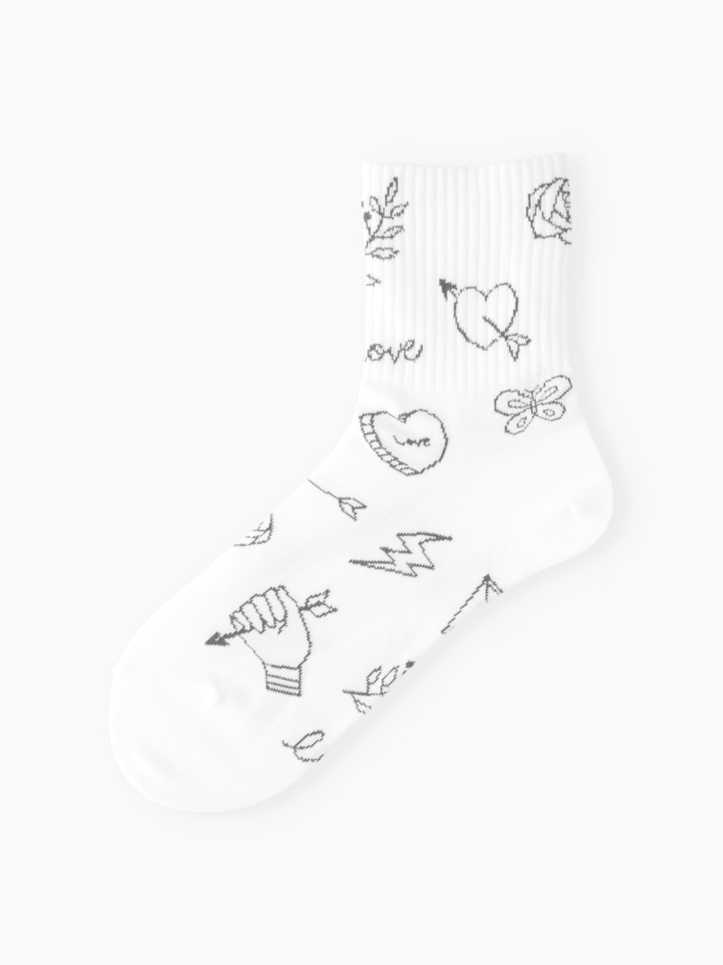 Tattoo Illustration Low Crew Socken