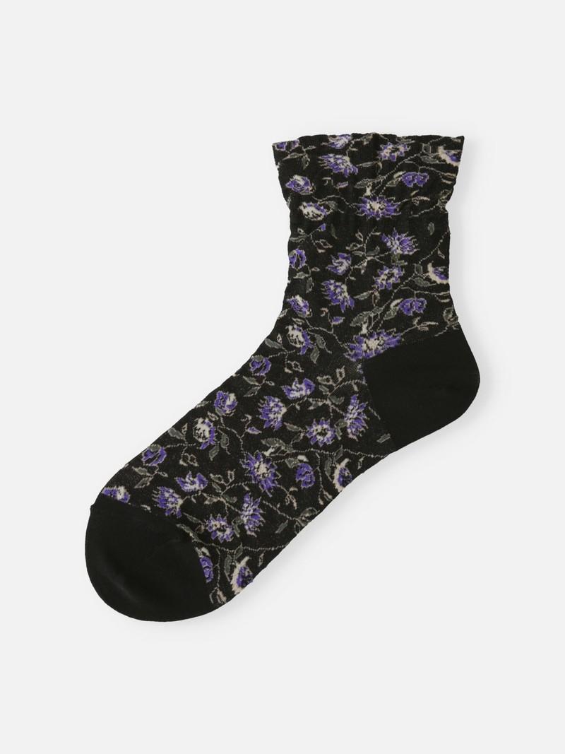 Flower Drawing Low Crew Socken