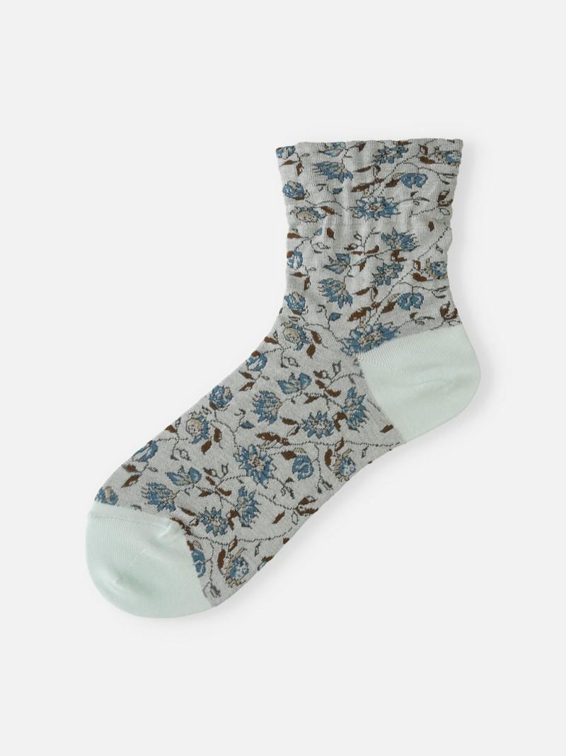 Bloemtekening lage crew sokken