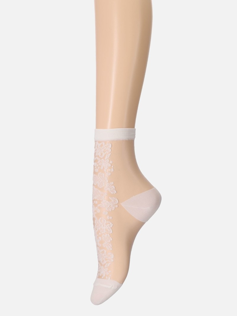 Tulle Front Lacy Low Crew Socks