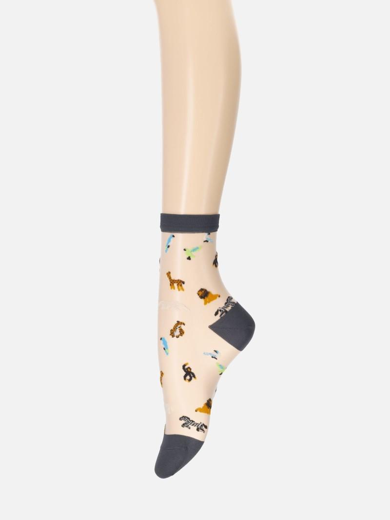 Tulle Animals Low Crew Socks