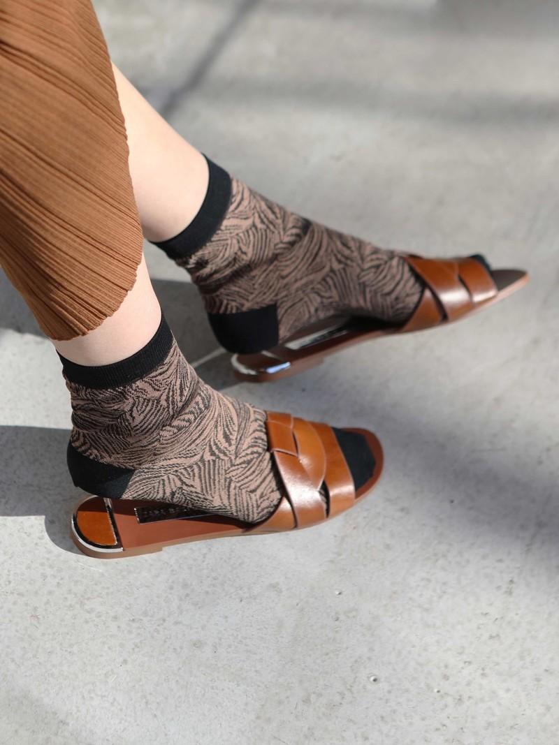 Socquette motif feuilles tropilcales en coton