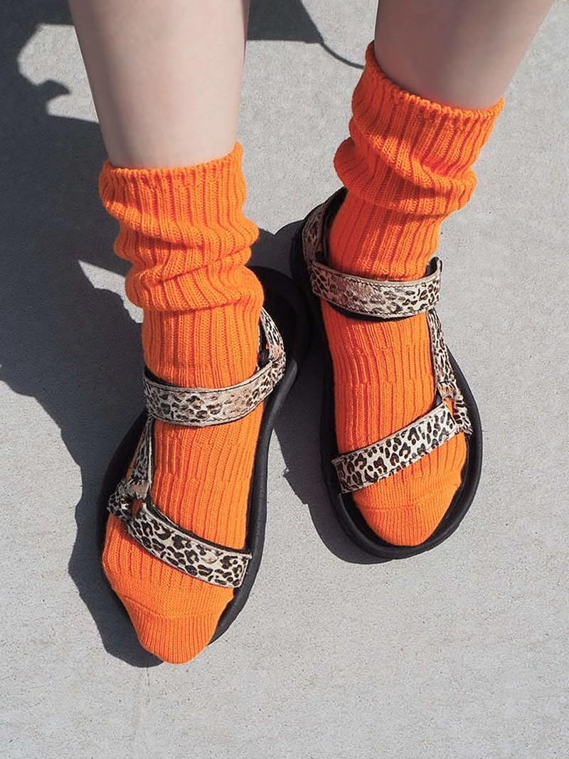Mi-chaussette unie à côtes Loose