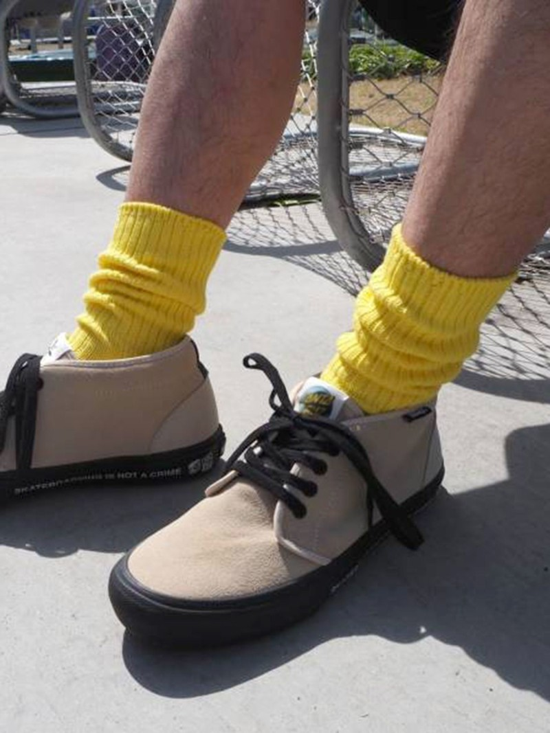 Cotton Ribbed Loose Crew Socks Men'S